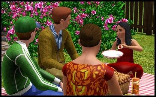 10 sims 3 sunset valley famille sonia galantome michael bruno jocaste pique-nique