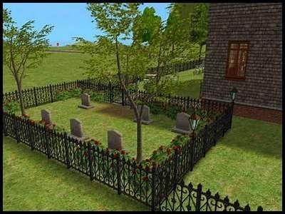 16 famille gothik sims 2 montsimpa manoir gothik cimetière ancêtres jardin tombes