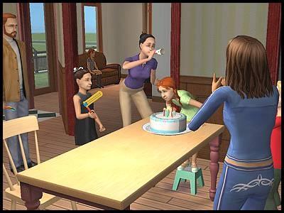 famille simpa anniversaire jumelles angela lilith bouderie gâteau tristesse souffler bougies