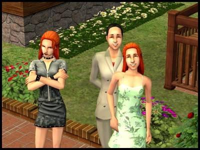 famille simpa mary-sue angela lilith photo sourire bouderie colère adolescentes jumelles mère jardin