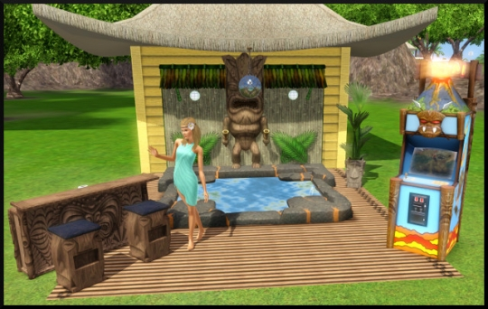 Sims 3 store fete exterieur salon salle manger tiki for Salle a manger sims 4