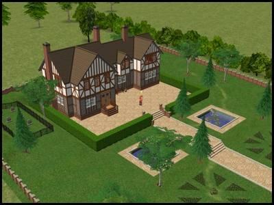 sims 2 veronaville manoir capp style anglais colombages avec grand jardin et cimetière