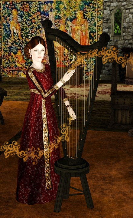 Jeu de Harpe - Harpe et tabouret à  télécharger à  part. Image de AuroreB