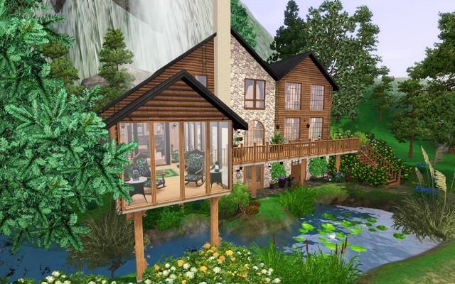 Chalet chaleureux for Decoration maison sims 3