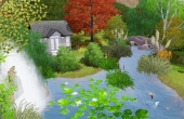 Le petit pont, l'étang, la cascade et le pavillon