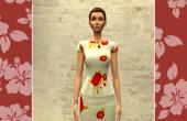 Robe courte blanche fleurs rouges