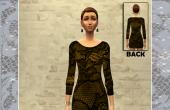 Robe noire er dor�e manches 3/4 femme