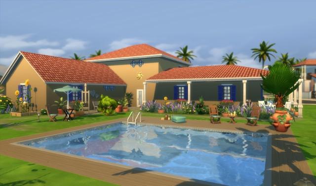 L'oustallette vue du jardin et la piscine