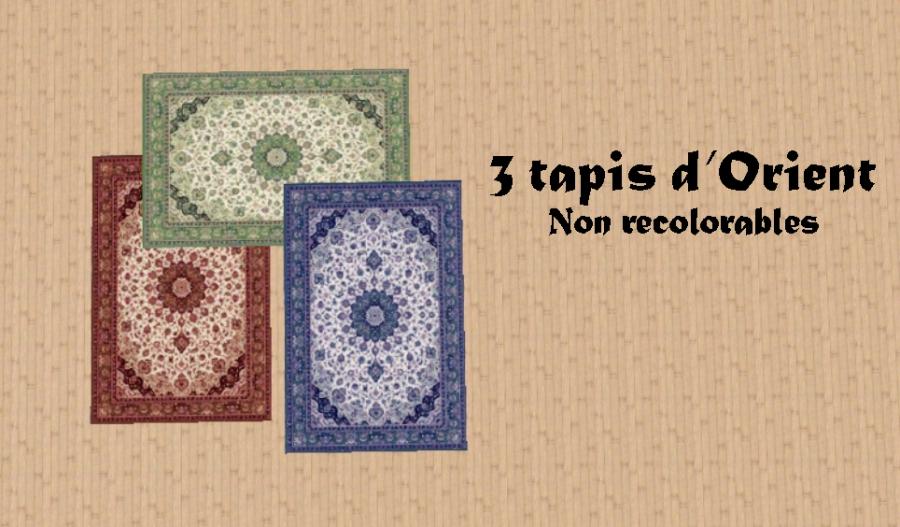 Tapis d'orient en 3 coloris