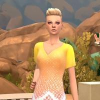 robe robinson jaune et pêche