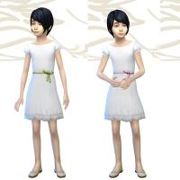 Robe blanche et noeud couleur 1
