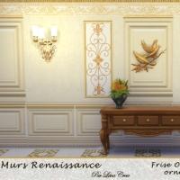 Murs Renaissance Frise Or sur Lin tendu Sable orn� de ferronnerie or
