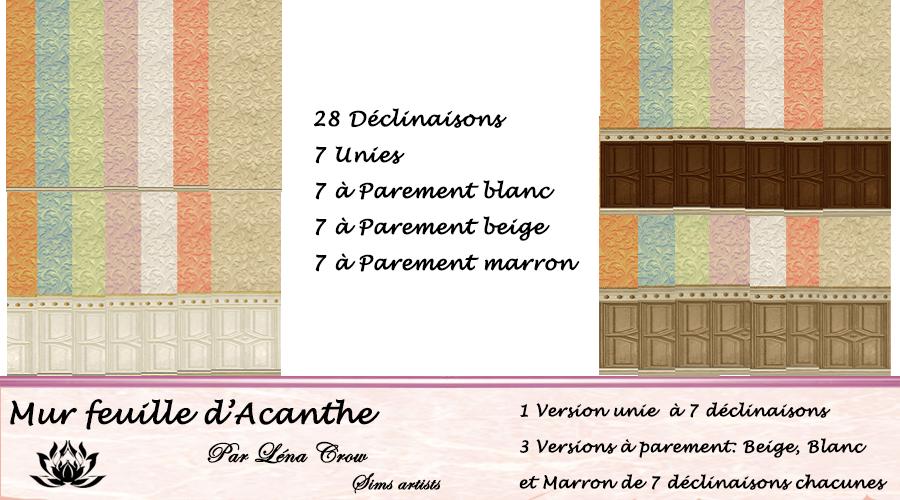 Sims 4 mur wall feuille d 39 acanthe - Feuille d acanthe ...