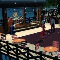 L'espace danse et la cabine du DJ vus de nuit