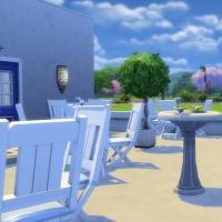 la elasa restaurant grec cour vue vers l'extérieur