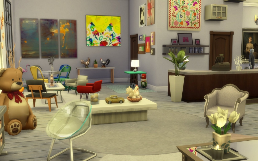 Sims  Au Travail Magasin Decoration