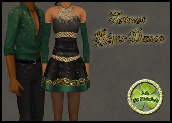 """Sims 2 Tenues de Danse Irlandaise inspiration """"River Dance"""" pour adultes"""