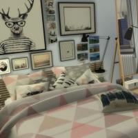 Appartement scandinave - chambre - lit et coin lecture