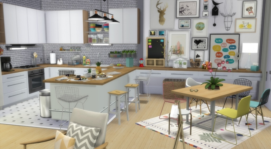 Sims 4 appartement apartment scandinavian style scandinave for Salle a manger sims 4