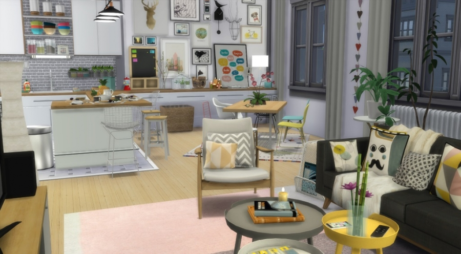 sims 4 appartement apartment scandinavian style scandinave. Black Bedroom Furniture Sets. Home Design Ideas