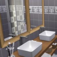 Appartement scandinave - salle d'eau - lavabos et douche