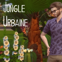 Polo Jungle urbaine motif fougère bleu noir