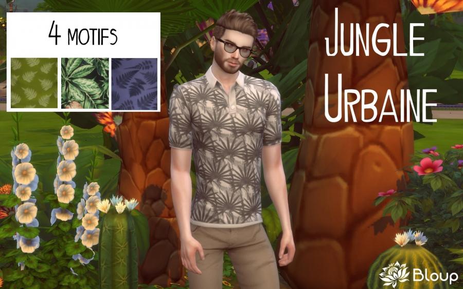 Polo Jungle urbaine présentation et motif gris noir