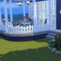 Blue - massif de fleurs et terrasse
