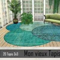 Tapis 3x3 Melange bleu