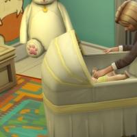 Autour du berceau - la pose de l'enfant
