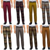 Pantalon à motif et uni raccord aux tissus