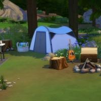 La caravane de Granite Falls - l'aire de feu et la tente